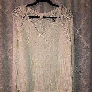 White sheer long sleeve sweater